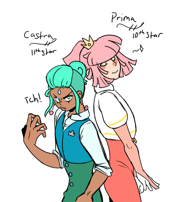 Castra and Prima!!! These boys have been on my mind lately and I finally got to draw them!They are the 10th and 11th Shooting StarsThis is also how I'm gonna do refs now since the other way made me wanna puke ngl #Castra#Prima #13 Shooting Stars #my art#my ocs#imabritrom#fananime