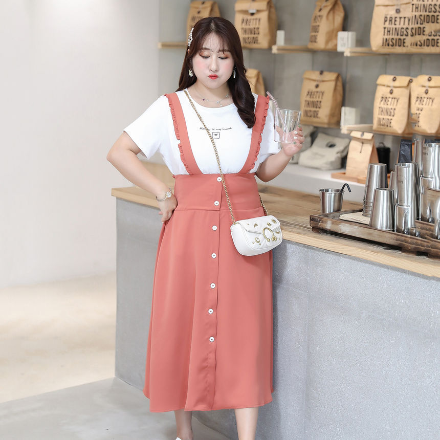 ♡ Suspender Skirt (XL-5XL) - Link in the source! ♡ #cute#suspender skirt#fashion blog#midi skirt#skirt#cute finds#kfashion#korean fashion#autumn#fall#yesstyle#ysrini#plus size #plus size fashion #fatshion #plus size friendly #kawaii fatshion#under 25#under 30#under 40