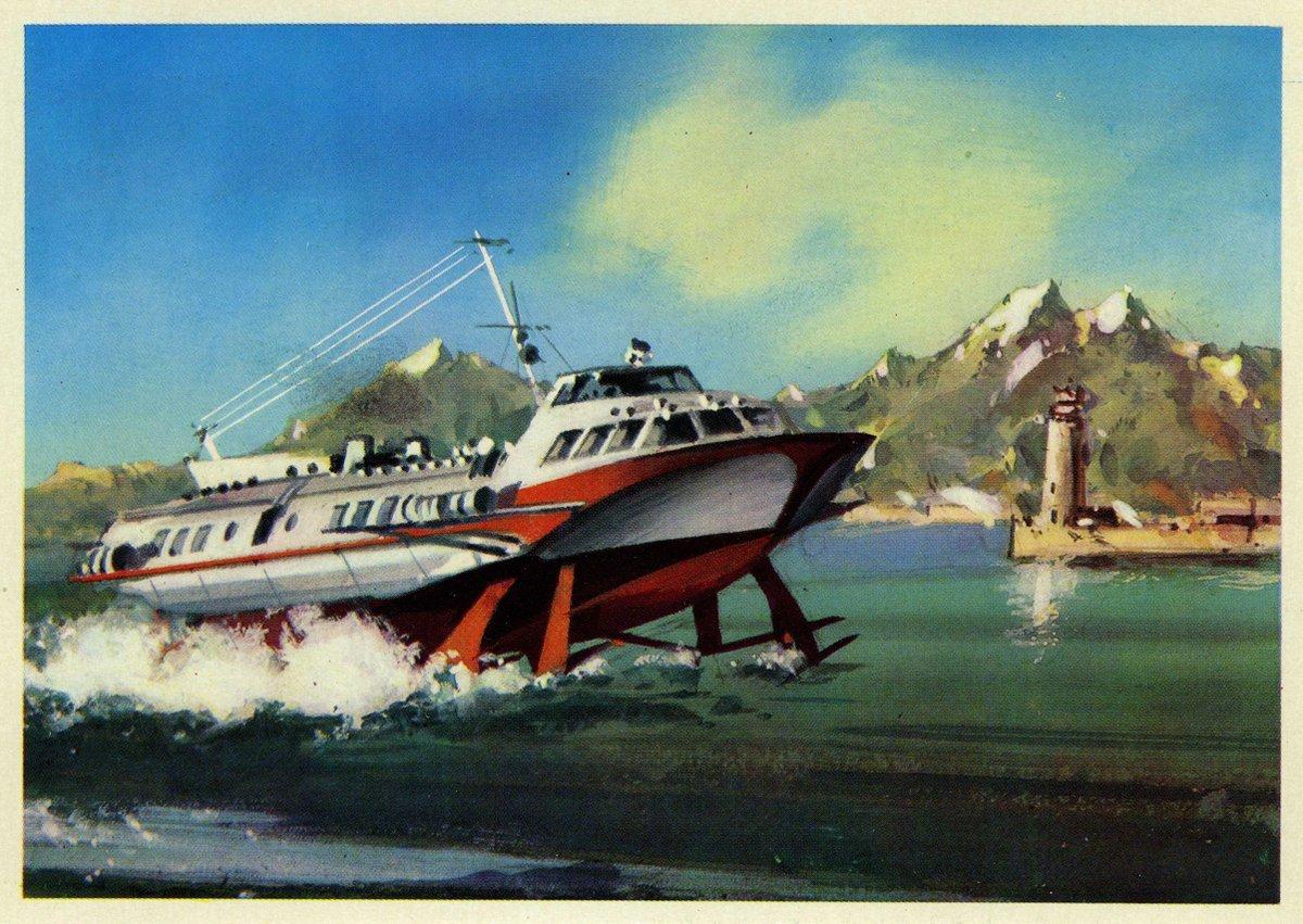 Soviets on the high seas in 1979 postcards illustrated by Valentin Viktorov.