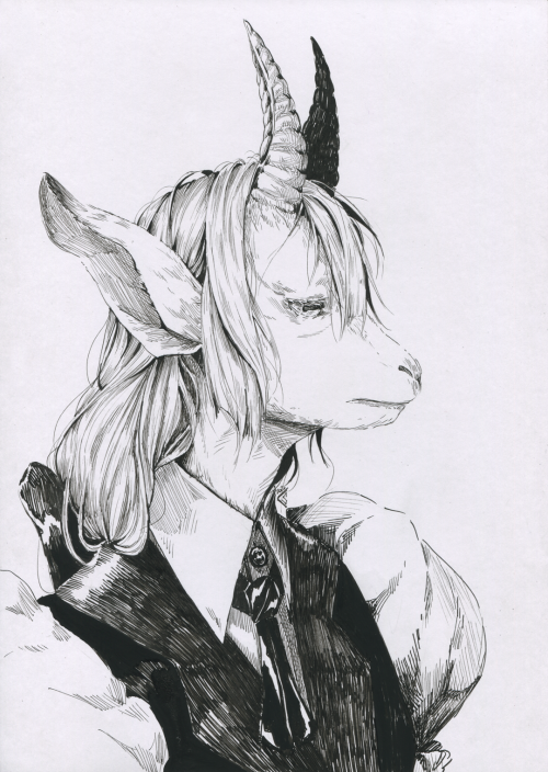 Little style test for a project for my illustration class! I really like how this looks……. övö #art#Illustration#portrait#ink#traditional#traditional art#goat#goat person#sfw#my work#my art