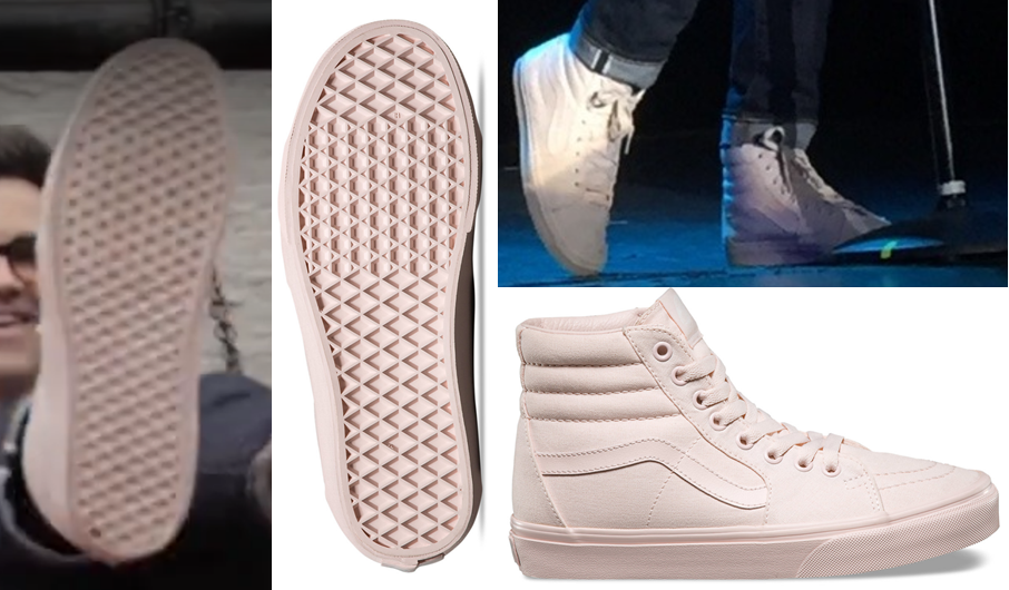 "3b477481ed I think they re the Vans ""Mono Canvas SK8-HI"" shoe in the color ""peach blush.""   )"