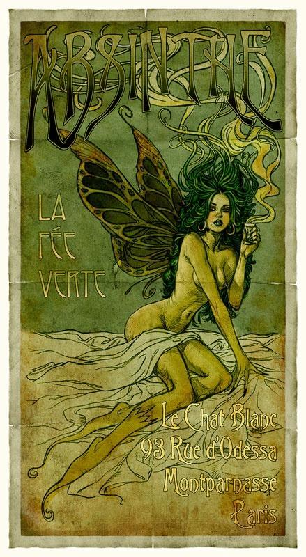 Absinthe Fairy by Aly Fell #absinthe#fairy#poster#Aly Fell#art