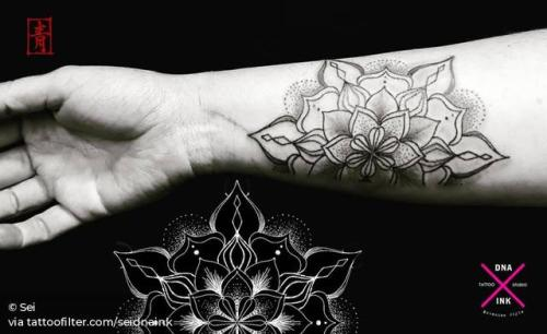 By Sei, done at DNA Ink Studio, Dénia. http://ttoo.co/p/28440 seidnaink;of sacred geometry shapes;mandala;facebook;twitter;sacred geometry;inner forearm;medium size