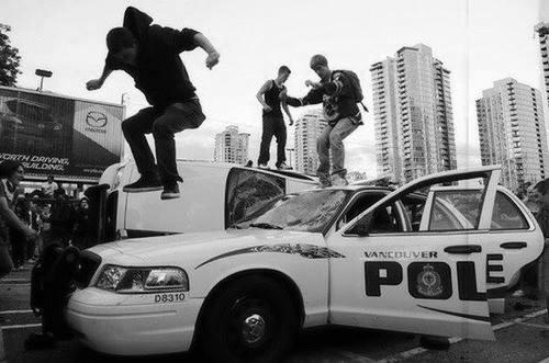 riot police car demonstration anarchy black and white b&w Black&White edit usa police car