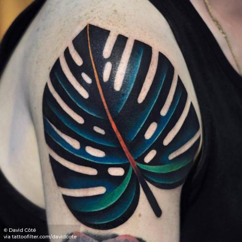 By David Côté, done in Montreal. http://ttoo.co/p/35455 big;contemporary;davidcote;facebook;leaf;monstera deliciosa leaf;nature;pop art;shoulder;twitter