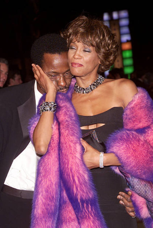 Whitney Houston and Bobby Brown at the Vanity Fair Post Oscars Party on March 25, 2001.