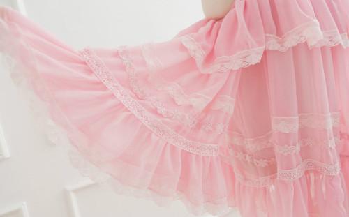 chiffon dress pink fashion taobao pink lace pastel fashion moew