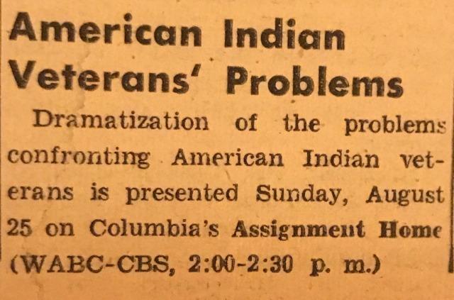1946 - CBS Radio's Assignment Home profiled the struggles of Native American veterans #world war three #native american#rare radio#Assignment Home#CBS