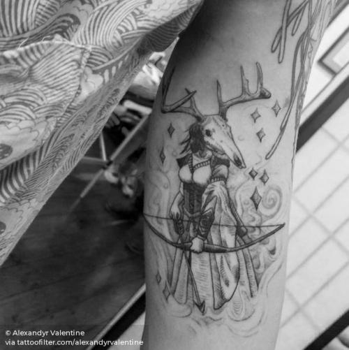 By Alexandyr Valentine, done at Seventh Circle Studio, Brisbane.... single needle;inner arm;facebook;blackwork;twitter;alexandyrvalentine;medium size;mythology;norse mythology;illustrative