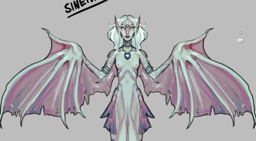 kehleryn:  I made a siren OC! Her name is Sineiva, her hobbies include collecting human things, humans, and her favorite food is Kul Tirans!She can't float around like the other sirens, so when out of the water she just flops around clumsily on the beach like a big fat seal and tries to seduce you.