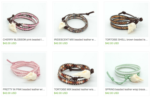 etsy skullery bird skull bracelets wrap bracelet