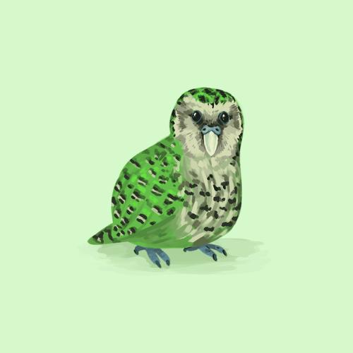 Huevember 26 - Kakapotwitter | society6 | facebook #kakapo#illustration#huevember#digital art