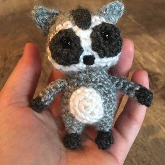 Tiny raccoon friend is done! Now it's time to get working on that Stitch pattern. First up: the ea…