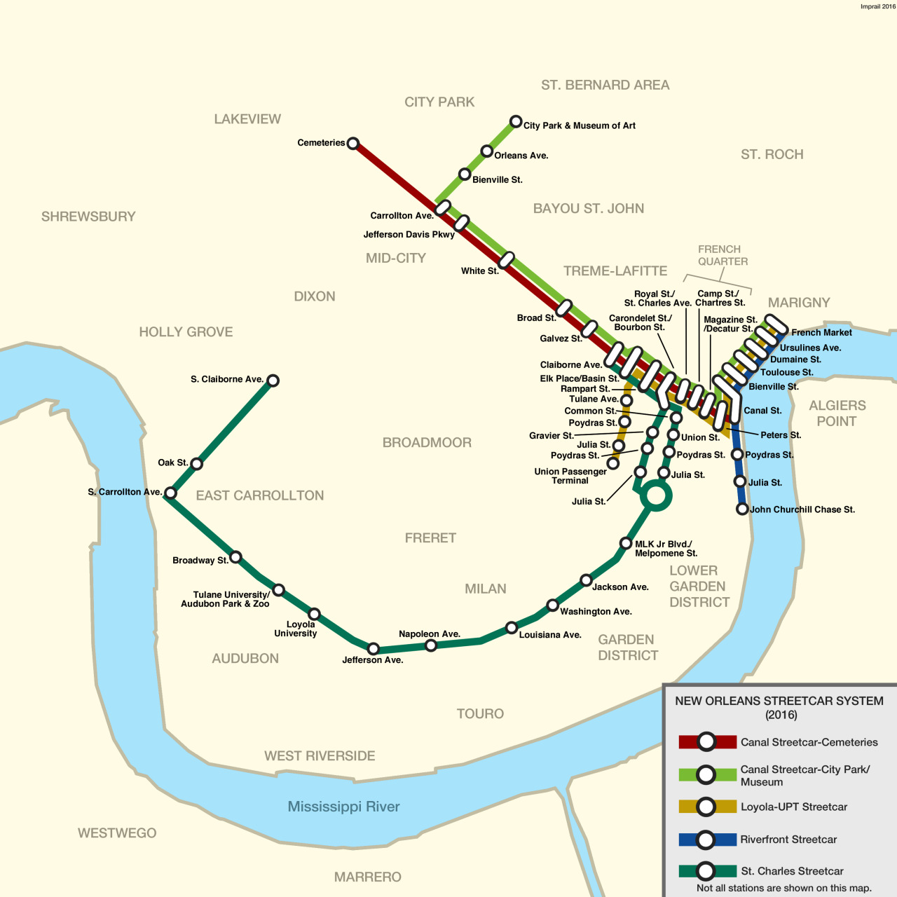 Imperial S Transit Maps New Orleans Streetcar Map As Of September
