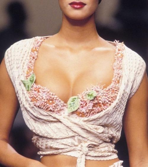 Yasmeen Ghauri Chantal Thomass runway catwalk fashion vintage