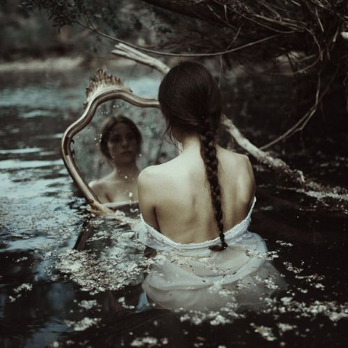 darkness dark pale dark pale grunge indie hipster alternative boho girl river skin white mirror water flowers nature forest