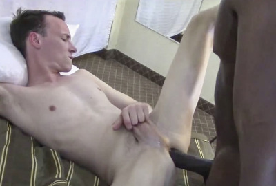 Just wait until that daddy rams his dick balls deep, that jock will cum all over himself from taking so much raw black dick. ;)
