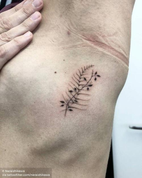 By Nara Ishikawa, done in Wadebridge. http://ttoo.co/p/32837 facebook;fern frond;hand poked;leaf;naraishikawa;nature;rib;small;twitter