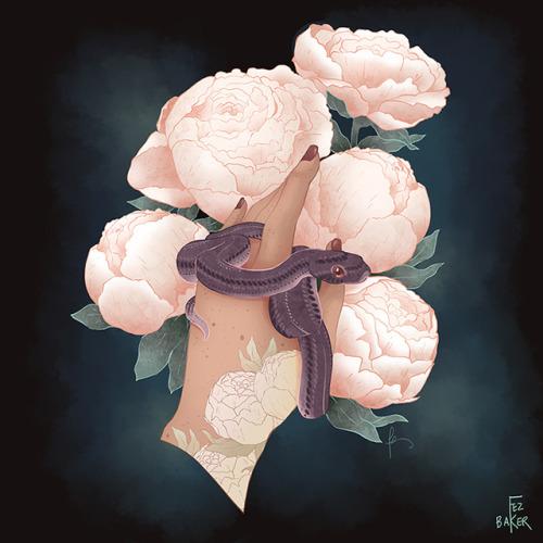 snake snakes peonies flowers illustration