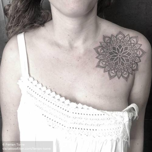 By Ferran Torre, done in Barcelona. http://ttoo.co/p/35094 chest;facebook;ferran torre;fine line;line art;mandala;medium size;sacred geometry;shoulder;of sacred geometry shapes;twitter