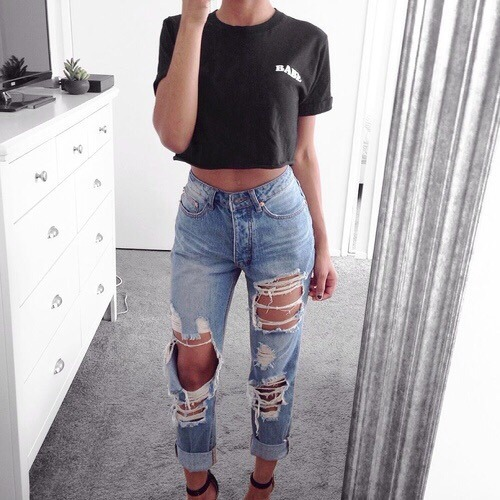 beaty beautiful black blue cool fashion hair jeans nails outfit pretty ripped ripped jeans shoes spring summer tan white crop top
