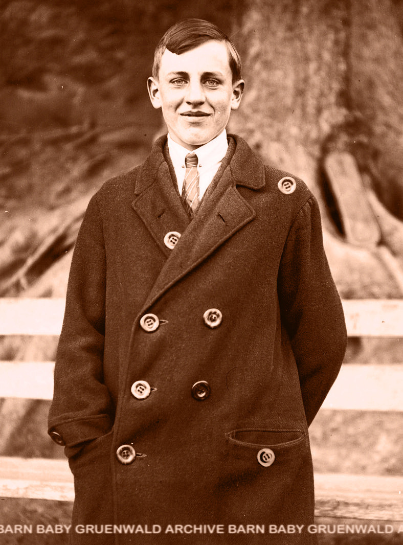 "Oscar ""Buttons"" Robinson, Birmingham, England, 1927 When  Oscar Robinson got his coat back from the Chinese cleaners he found it  had several extra buttons sewn on in unconvincing ways.  As it was a cold  and damp afternoon, he decided to wear it anyway, and get the extra  buttons removed by his club's tailor on the weekend.  Long  story short, all the favorable attention given to his unusual sartorial  mischance caused young Oscar to rethink his entire wardrobe's button number  and placement, and, over time, earned him the nickname ""Buttons.""  Later in life, upon the medical removal of both his eyes, his nickname was revised to Oscar ""No Eyes"" Robinson. See several of his buttons on display at the Baby Gruenwald Archive Barn and Glitter Beard Shaming Station, located across the street from Gruenfair, Baby Gruenwald's sprawling Culver Hills estate. #baby gruenwald#buttons#wardrobe#no eyes#archive barn#glitter beard#gruenfair#culver#vintage photo"