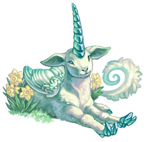 unicorn spring spring equinox lamb daffodil painting digital painting
