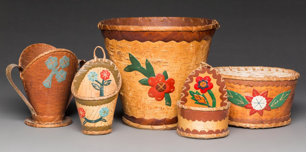 Five Great Lakes Birchbark Vessels, c.1950. Birchbark, paint, fiber #crafts#bowls#vintage#decor#arts#american#handmade