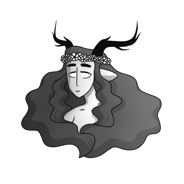 A tiefling with antlers and thick, wavy hair. Her hair is a dark brown, her skin is light brown, her eyes are yellow, and she is wearing a red flower crown.