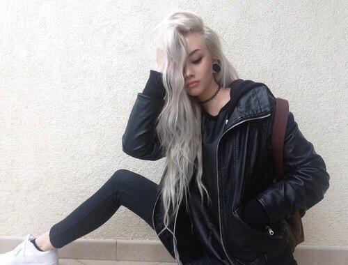 blonde leather jacket white shoes adias