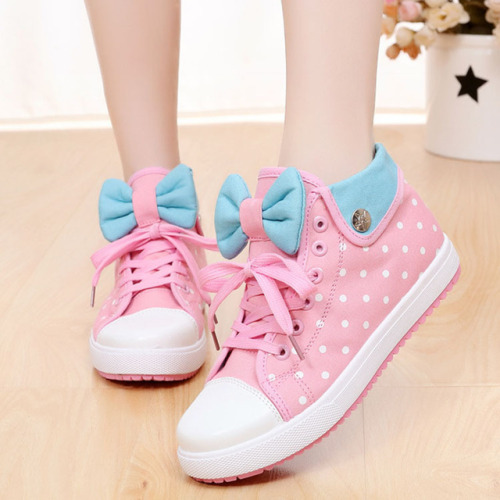 harajuku fashion store envy pastel canvas shoes shoes cute kawaii polka dots bow back to school fashion women& 039;s fashion CLAIRE10