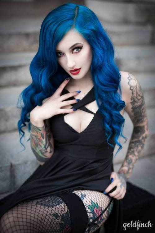 blue hair tattoos tattoo tattooed girl inked girl gothic girl