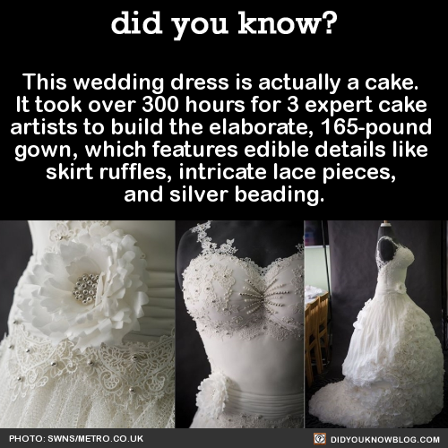 This wedding dress is actually a cake. It took over 300 hours for 3 expert cake artists to build the elaborate, 165-pound gown, which features edible details like skirt ruffles, intricate lace pieces, and silver beading. Source