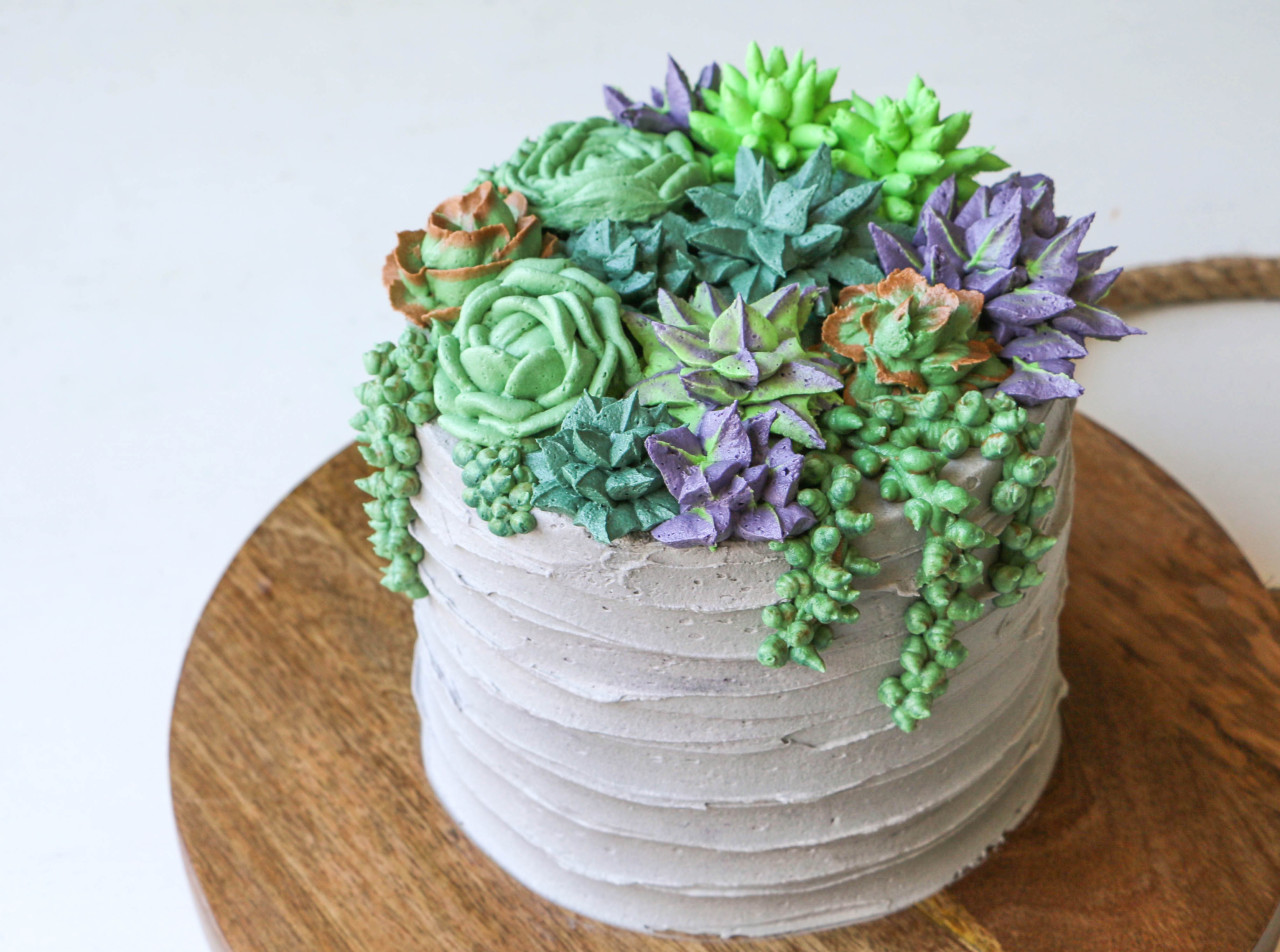 Sweet Tooth Girl How To Make A Buttercream Succulent Cake