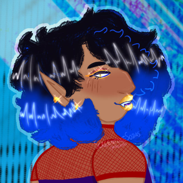 side profile of brown skin humanoid with pointed ears and black/blue hair. It's wearing red fishnet shirt with purple top over. They have gold lips and earrings. Background is lines of blue overlaping