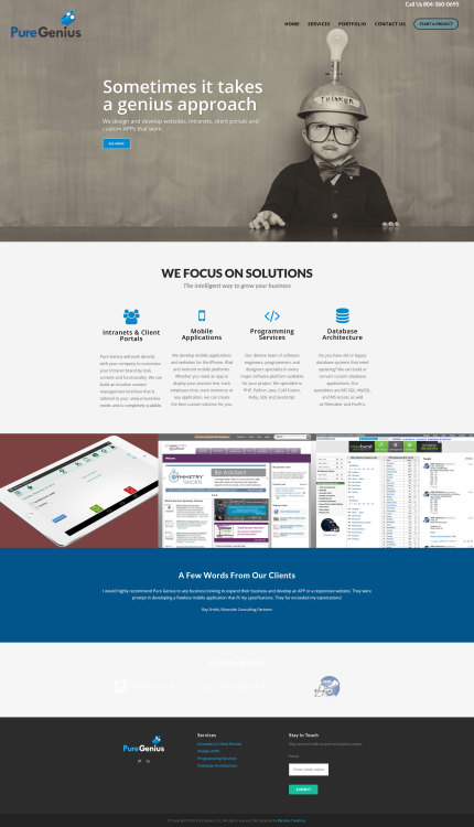 Pure Genius We offer responsive web design,    - Built With