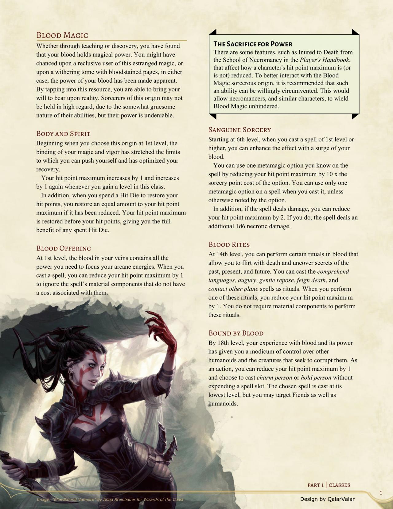 Dicebound: Tabletop RPG Fan-Blog — dnd-5e-homebrew: Blood Magic