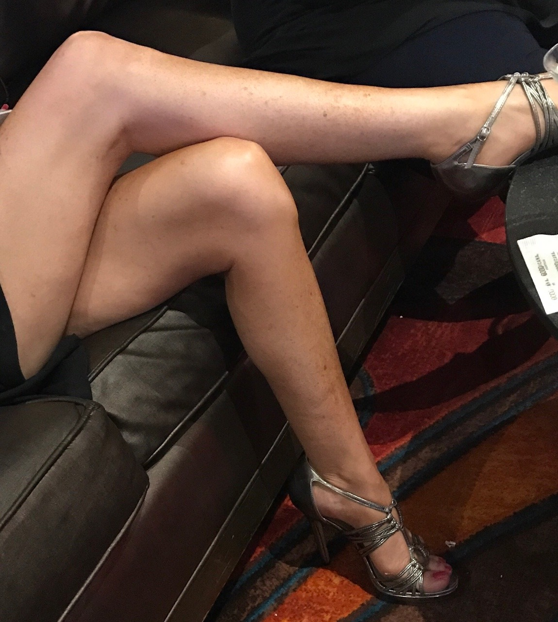 She keeps uncrossing her sexy legs whenever a good looking guy walks by , no panties