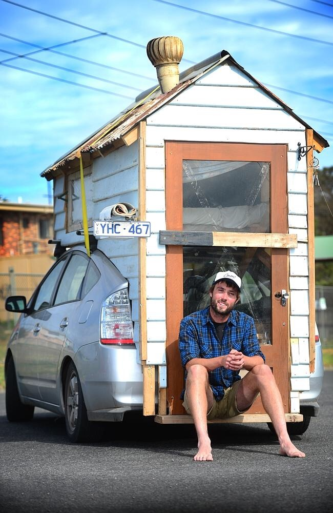 """small tiny home ideas - """"It's more comfortable than a tent,…"""" James..."""
