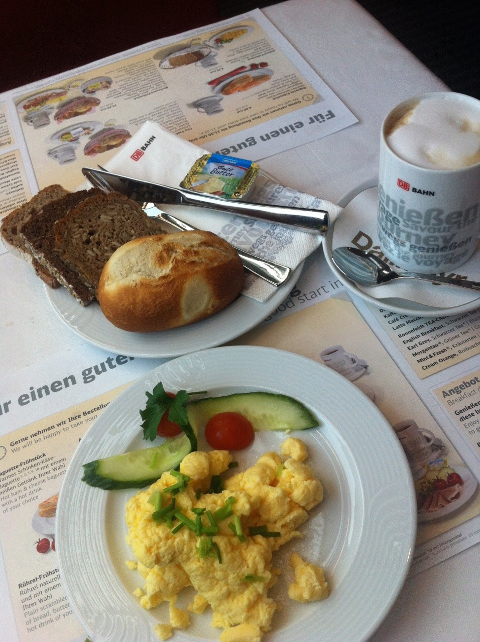 Another German breakfast on a train from Hamburg to München