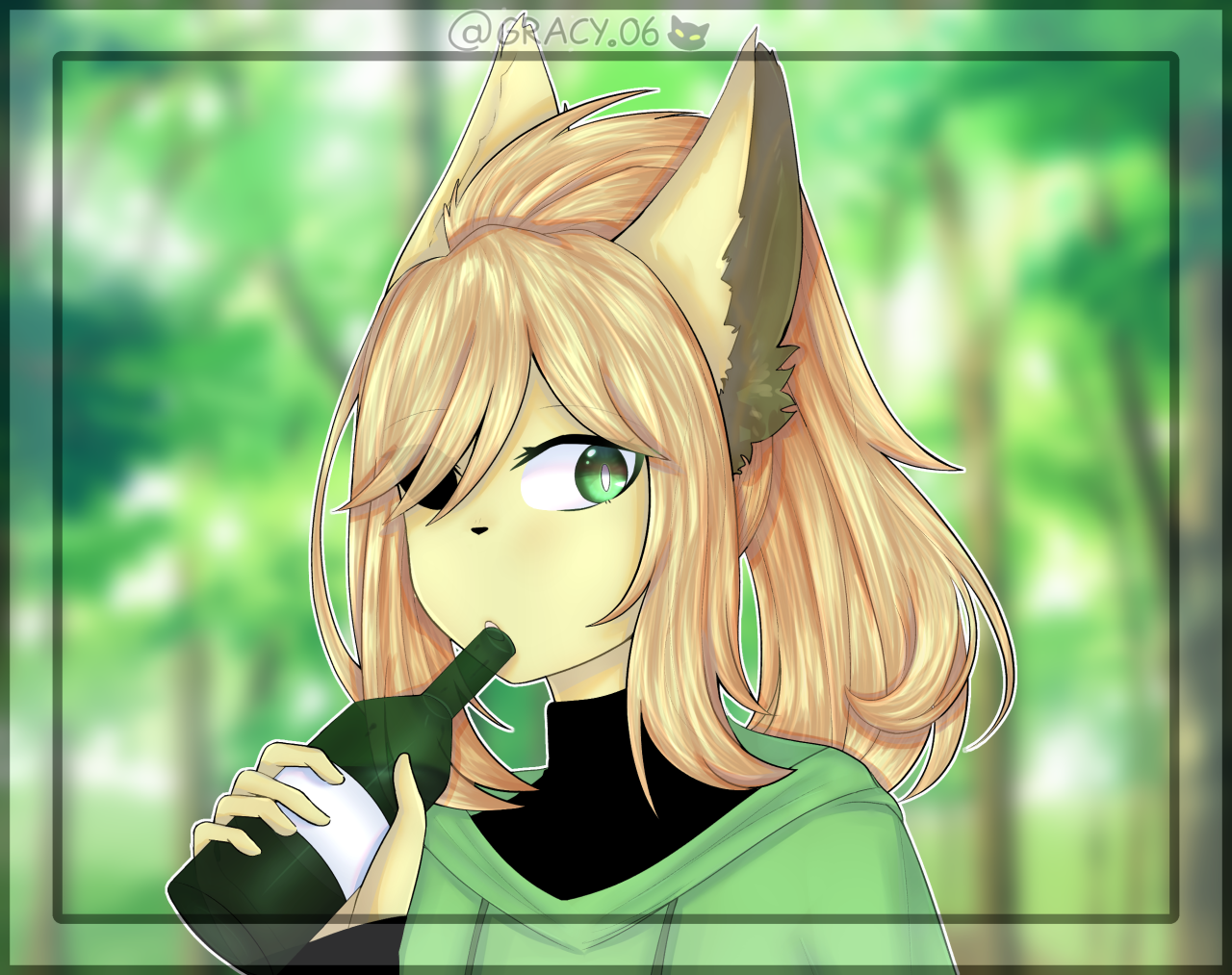 . . A.T w/ @blue_leaff66 . . . 1- Instagram 2- Devintart . . . (2 posts in 1 day hmmm….) #art trade#Illustration#furry#digital art#sketch #clip studio paint #orginal drawing#hear#colouring#lineart#Forest#yellow#green