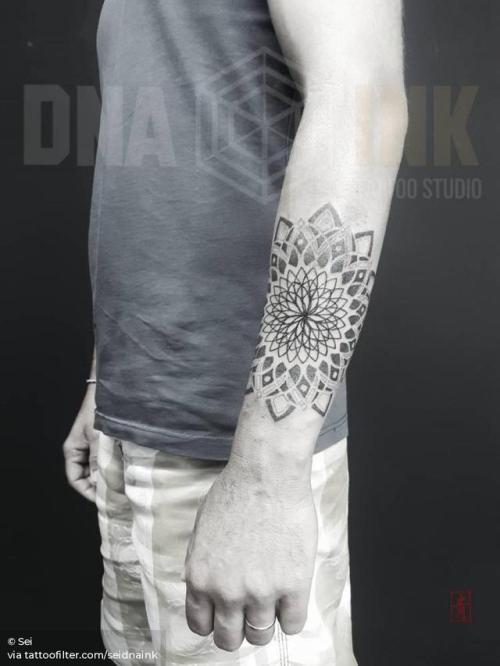 By Sei, done at DNA Ink Studio, Dénia. http://ttoo.co/p/28299 seidnaink;dotwork;big;of sacred geometry shapes;mandala;facebook;forearm;twitter;sacred geometry