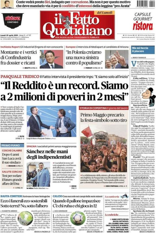 Prima Pagina Il Fatto Quotidiano 29/04/2019