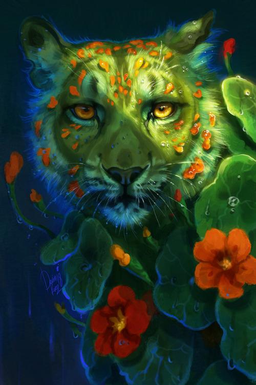 nasturtium leopard art digital reclamation plant animal feline