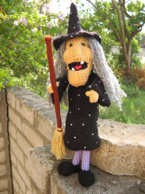Etsy Amigurumi witch crocheted witch black witch broom halloween crochet halloween witch Amig