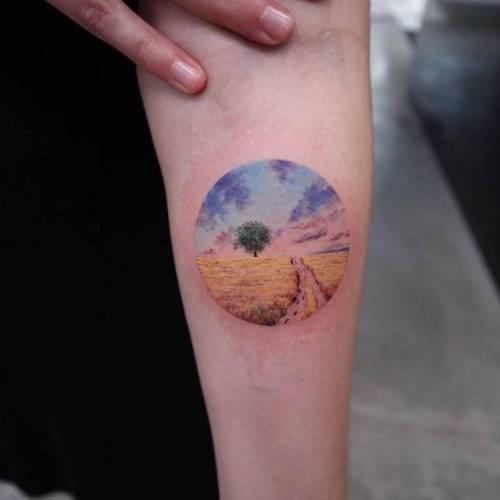 By Eva krbdk · Havva Karabudak, done at Bang Bang Tattoo,... geometric shape;tree;small;evakrbdk;circle;contemporary;tiny;landscape;ifttt;little;nature;inner forearm;medium size