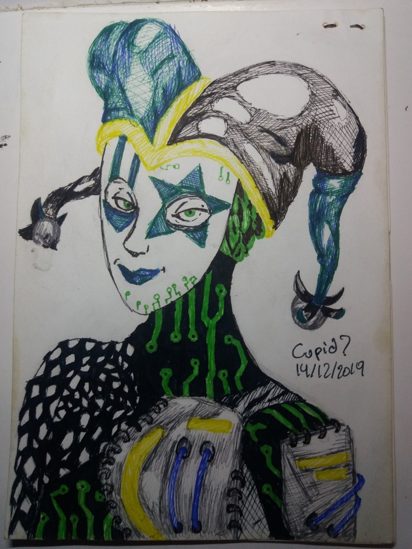 Nautilus Dream - 14/12/2019 Yet another cyber goth jester. #cybergoth#jester#clown#traditional art#ink#my art