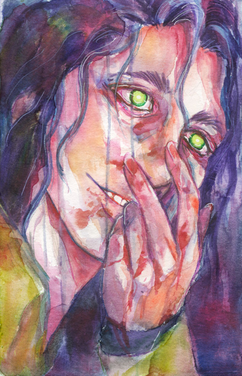 Have a creepy looking weirdo with a disturbingly smol hand. #art#Illustration#portrait#watercolor#traditional#traditional art#sfw#my work#my art