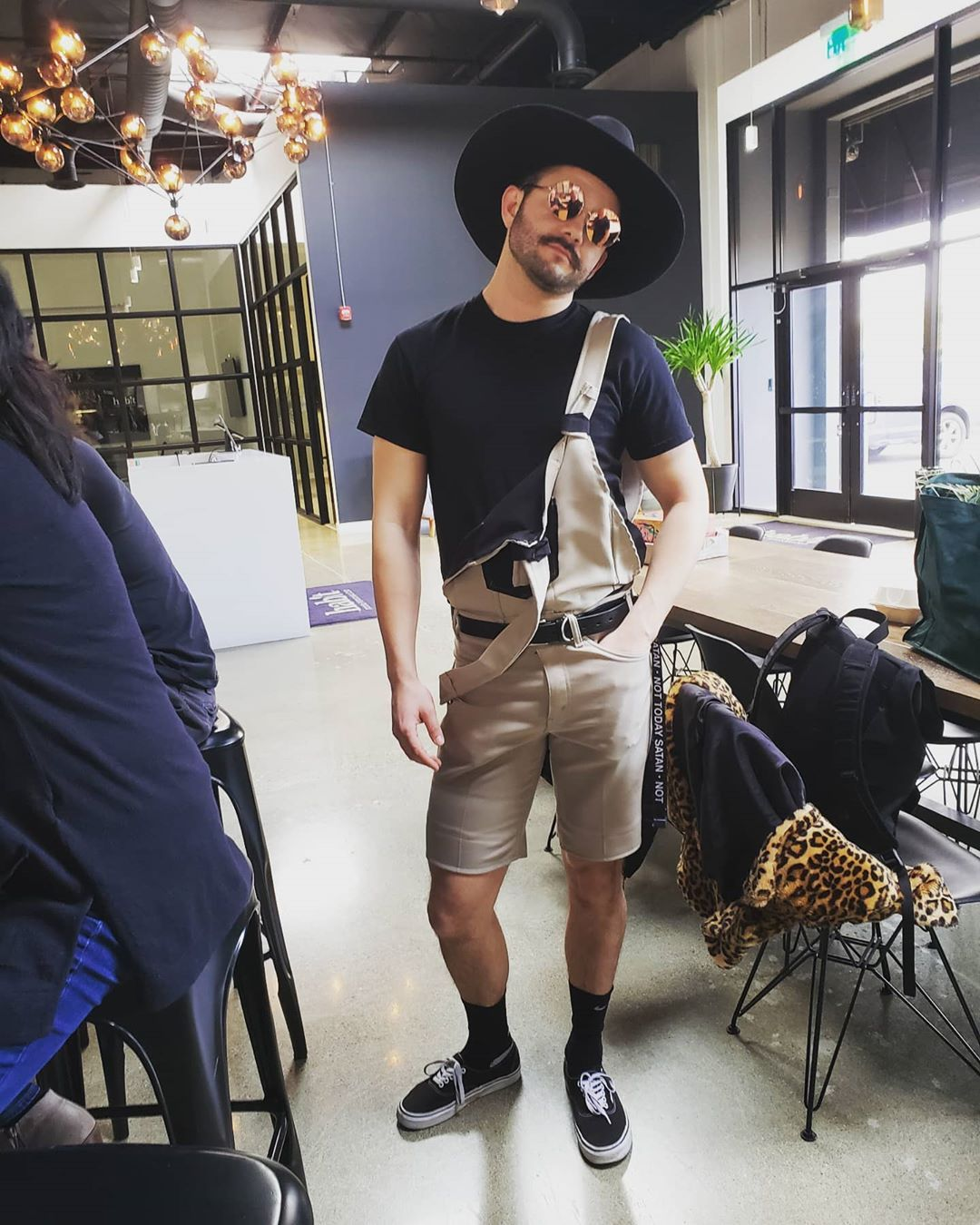 internet find #overalls#dungarees#shortalls#cute#cute guy#tshirt#hat#sunglasses#belt#one stap#strap down #hand in pocket #cool#cool look#hot#hot guy#sneakers#socks#summer#summer look