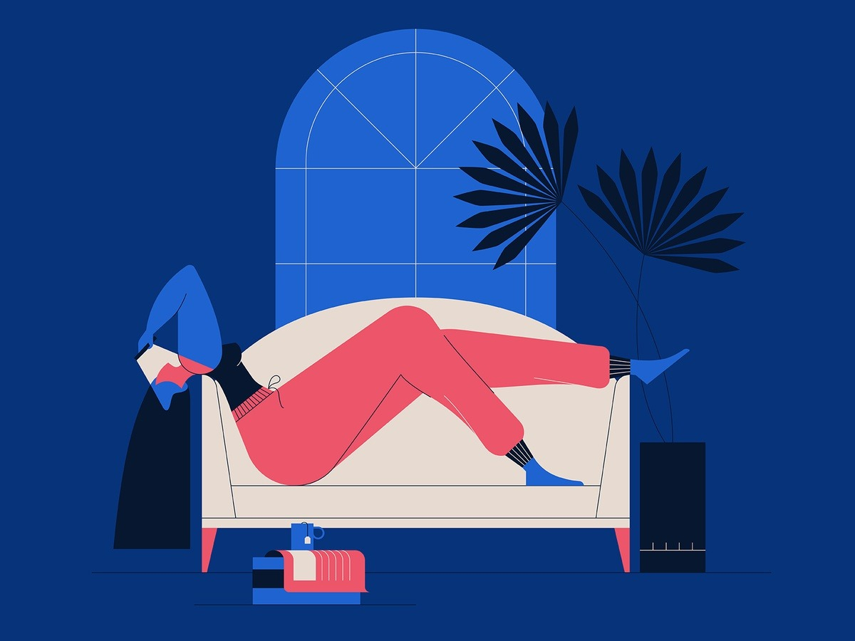 Cabin Fever! #dribbble#books#cabin fever#character#characterdesign#couch#drawing#graphic#illustration#inside#isolation#lady#plants#tea#vector